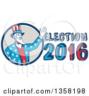 Clipart Of A Retro Uncle Sam In An American Patiotic Suit Waving From A Circle By Election 2016 Text Royalty Free Vector Illustration