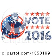 Clipart Of A Retro Uncle Sam In An American Patiotic Suit Pointing From A Circle By Vote 2016 Text Royalty Free Vector Illustration