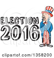 Clipart Of A Cartoon Shouting Uncle Sam In An American Patiotic Suit With Election 2016 Text Royalty Free Vector Illustration