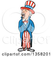 Clipart Of A Cartoon Shouting Uncle Sam In An American Patiotic Suit Royalty Free Vector Illustration