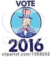 Clipart Of A Cartoon Uncle Sam In An American Patiotic Suit Inside A Circle With Vote 2016 Text Royalty Free Vector Illustration by patrimonio