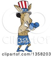 Cartoon Democratic Donkey Boxer Wearing A Top Hat