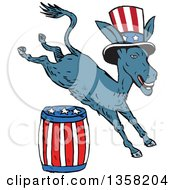 Cartoon Leaping Democrat Donkey Wearing A Top Hat And Jumping Over An American Barrel