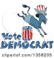 Clipart Of A Cartoon Leaping Donkey Wearing A Top Hat And Jumping Over An American Barrel And Vote Democrat Text Royalty Free Vector Illustration