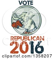 Clipart Of A Retro Sketched Or Engraved Political Elephant Boxer With Vote Republican 2016 Text Royalty Free Vector Illustration