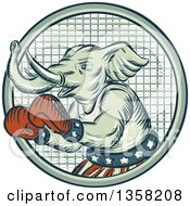 Clipart Of A Retro Sketched Or Engraved Political Elephant Boxer In A Circle Royalty Free Vector Illustration