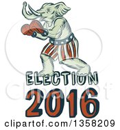 Clipart Of A Retro Sketched Or Engraved Political Elephant Boxer With Election 2016 Text Royalty Free Vector Illustration