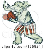 Clipart Of A Retro Sketched Or Engraved Political Elephant Boxer Royalty Free Vector Illustration