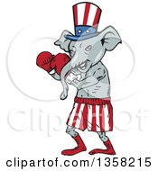 Clipart Of A Cartoon Republican Elephant Boxer Royalty Free Vector Illustration by patrimonio