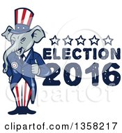 Clipart Of A Cartoon Republican Elephant Giving A Thumb Up With Election 2016 Text Royalty Free Vector Illustration