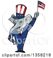 Clipart Of A Cartoon Republican Elephant Wearing A Suit And Top Hat Waving An American Flag Royalty Free Vector Illustration