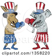 Cartoon Democratic Donkey And Republican Elephant Boxers Ready To Fight
