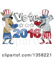 Clipart Of Cartoon Democratic Donkey And Republican Elephant Boxers Ready To Fight By Vote 2016 Text Royalty Free Vector Illustration by patrimonio