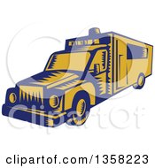 Clipart Of A Retro Woodcut Blue And Yellow Ambulance Royalty Free Vector Illustration by patrimonio