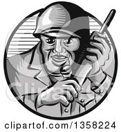 Clipart Of A Retro Woodcut World War Two Soldier Holding A Field Radio In A Gray And Navy Blue Circle Royalty Free Vector Illustration
