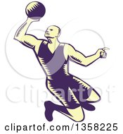 Clipart Of A Retro Pastel Yellow And Navy Blue Woodcut Male Basketball Player Slam Dunking Royalty Free Vector Illustration
