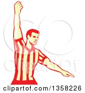 Clipart Of A Retro Woodcut Yellow And Red Basketball Referee Stopping The Clock Royalty Free Vector Illustration by patrimonio
