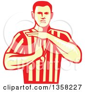Clipart Of A Yellow And Red Woodcut Retro Male Basketball Referee Gesturring Technical Foul Royalty Free Vector Illustration by patrimonio