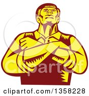 Clipart Of A Retro Woodcut Yellow And Brown Businessman With Folded Arms Looking Up From A Low Angle Royalty Free Vector Illustration by patrimonio