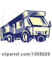Clipart Of A Retro Woodcut Yellow And Blue RV Camper Van Royalty Free Vector Illustration