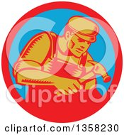 Poster, Art Print Of Retro Woodcut Male Carpenter Worker Using A Hammer In A Red And Blue Circle