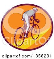 Clipart Of A Retro Woodcut Cyclist Riding Away In A Purple Orange And Yellow Oval Royalty Free Vector Illustration by patrimonio