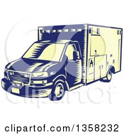 Clipart Of A Retro Woodcut Blue And Pastel Yellow Ambulance Vehicle Royalty Free Vector Illustration