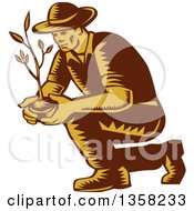 Clipart Of A Retro Woodcut Brown And Yellow Male Farmer Planting An Organic Tree Or Plant Royalty Free Vector Illustration