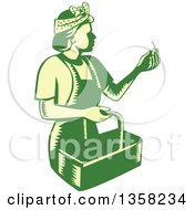 Clipart Of A Retro Woodcut Green And Yellow Female Farm Worker Picking Cherries Royalty Free Vector Illustration