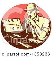 Retro Woodcut Yellow And Brown Male Ham Radio Operator Talking Into A Transreceiver In A Pink Oval