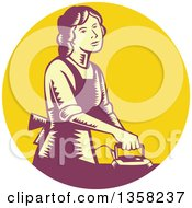 Retro Woodcut House Wife Or Maid Ironing Laundry In A Yellow And Purple Circle