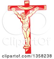 Retro Woodcut Jesus Christ Nailed To A Red And Yellow Cross