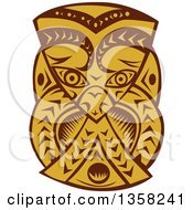 Clipart Of A Retro Woodcut Brown And Orange Maori Mask Royalty Free Vector Illustration by patrimonio