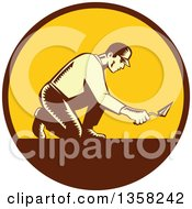 Clipart Of A Retro Woodcut Male Mason Worker Kneeling And Using A Trowel In A Brown And Yellow Circle Royalty Free Vector Illustration