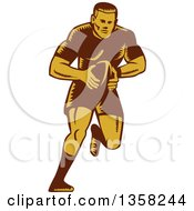 Clipart Of A Retro Woodcut Male Rugby Player Running With The Ball Royalty Free Vector Illustration