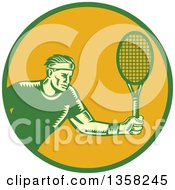 Clipart Of A Retro Woodcut Male Tennis Player Athlete Holding A Racket In A Green And Orange Circle Royalty Free Vector Illustration