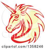 Clipart Of A Retro Woodcut White Yellow And Red Unicorn Head Royalty Free Vector Illustration