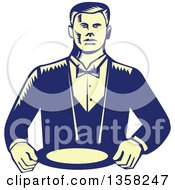 Clipart Of A Retro Woodcut Yellow And Blue Male Waiter Wearing A Cravat And Holding A Plate Royalty Free Vector Illustration