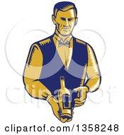 Retro Woodcut Orange And Blue Male Waiter Presenting A Wine Bottle