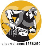 Clipart Of A Retro Black And White Woodcut Male Worker Using An Angle Grander In An Orange Circle Royalty Free Vector Illustration