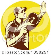 Clipart Of A Retro Woodcut Yellow And Brown Male Worker Holding Up A Hand And Using A Megaphone In A Yellow Circle Royalty Free Vector Illustration