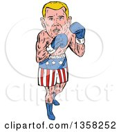Clipart Of A Cartoon Blond White Male Boxer In American Patriotic Shorts Royalty Free Vector Illustration by patrimonio