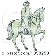 Clipart Of A Sketched Or Engraved Retro Calvary Soldier On Horseback Royalty Free Vector Illustration