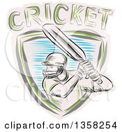 Clipart Of A Sketched Cricket Batsman In A Shield With Text Royalty Free Vector Illustration