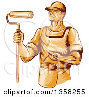 Clipart Of A Retro Sketched Orange Male House Painter Holding A Roller Brush And Bucket Royalty Free Vector Illustration