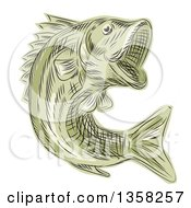 Clipart Of A Green Sketched Or Engraved Leaping Largemouth Bash Fish Royalty Free Vector Illustration by patrimonio