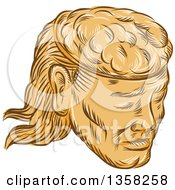 Clipart Of A Retro Sketched Or Engraved Man With A Visible Brain Royalty Free Vector Illustration