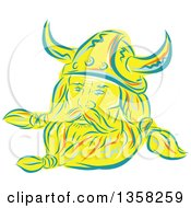 Clipart Of A Retro Sketched Or Engraved Viking Norseman With A Long Beard And Horned Helmet Royalty Free Vector Illustration