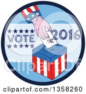 Clipart Of A Sketched American Hand Putting A Ballot In A Box Inside A Blue Vote 2016 Circle Royalty Free Vector Illustration by patrimonio