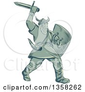 Clipart Of A Retro Sketched Or Engraved Viking Warrior Holding A Shield And Wielding A Sword Royalty Free Vector Illustration